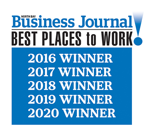 North Bay Business Journal Best Places to Work 2016 2017 2018 2019 2020 Winner